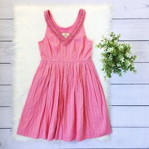 Anthro Moulinette Souers Pink Polka Dot Mini Dress